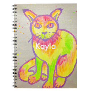 Hand Painted Neon Cat Notebook