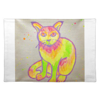 Hand Painted Neon Cat Placemat