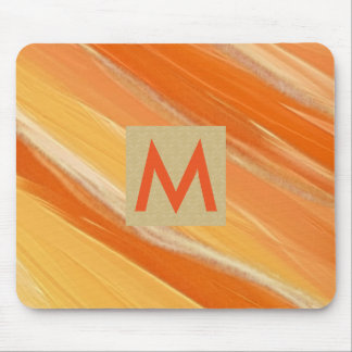 Hand Painted Orange Watercolor Initial Monogram Mouse Pad