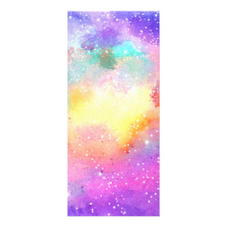 Hand painted pastel watercolor nebula galaxy stars personalised rack card