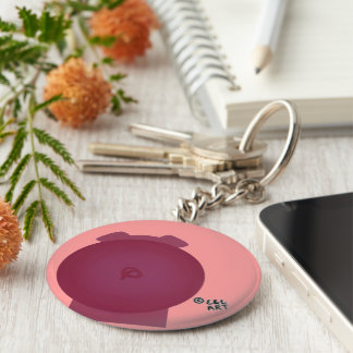 Hand painted Pig Basic Round Button Key Ring