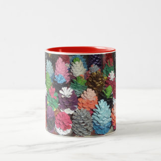 Hand-Painted Pinecones Two-Tone Mug