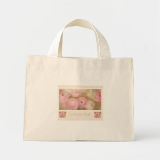 Hand Painted Pink Floral Wedding favor Mini Tote Bag