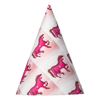Hand Painted Pink Horse Party Hat