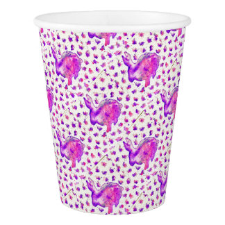 Hand Painted Purple Bunny Paper Cup
