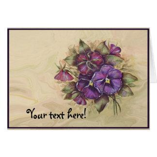 Hand Painted Purple Pansies Card