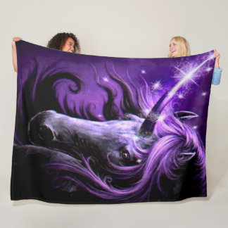 Hand Painted Purple Unicorn Plush Fleece Blanket