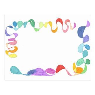 Hand painted rainbow borders postcard