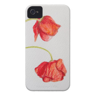Hand painted red poppies flowers Case-Mate iPhone 4 case