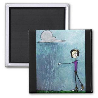 Hand painted Scene Emo Rain Square Magnet