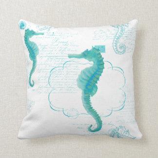 Hand Painted Seahorse Vintage Handwriting Scrolls Cushion