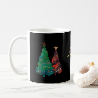 Hand Painted Sparkly Watercolor Christmas Trees Coffee Mug