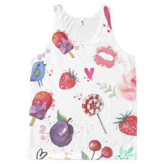 Hand painted summer background Tank top