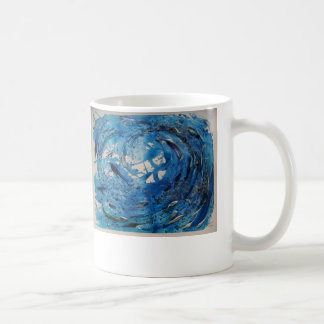 Hand painted tumbling surf wave with silvery fish basic white mug
