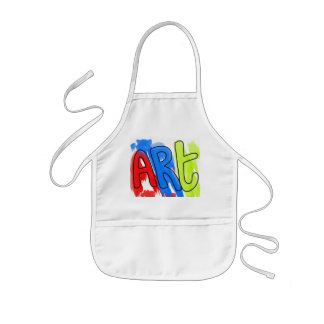 Hand Painted Watercolor ART Colorful Artist Kids Apron