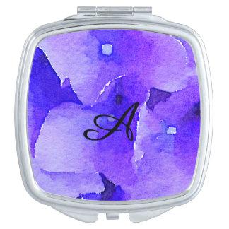 Hand Painted Watercolor Blue Hydrangea Monogram Travel Mirror