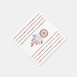 Hand Painted Watercolor Dreamcatcher Beads Feather Disposable Serviette