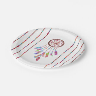 Hand Painted Watercolor Dreamcatcher Beads Feather Paper Plate
