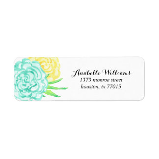 Hand Painted Watercolor Flowers Return Address Label