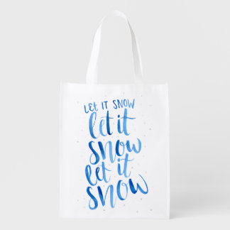 "Hand Painted Watercolor ""Let It Snow"" Reusable Bag"