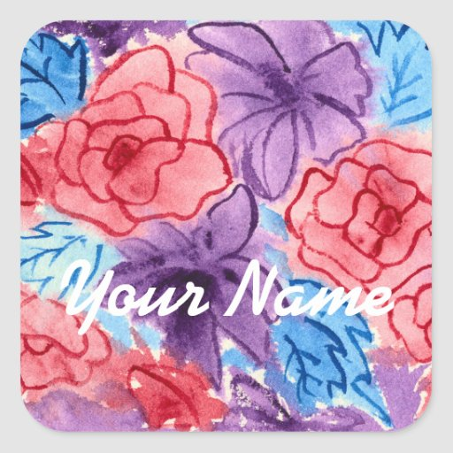 Hand-Painted Watercolor Red Roses Purple Clematis Square Sticker