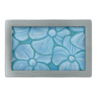 Hand Painted White Flowers Rectangular Belt Buckles