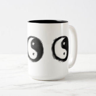 Hand-Painted Ying Yang Symbol by Julie Everhart Two-Tone Coffee Mug