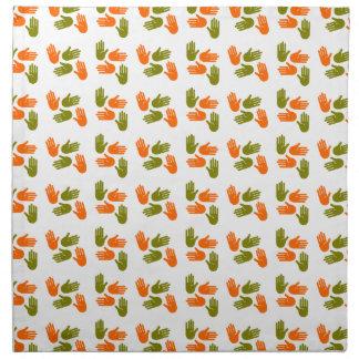 Hand Pattern green orange Napkin