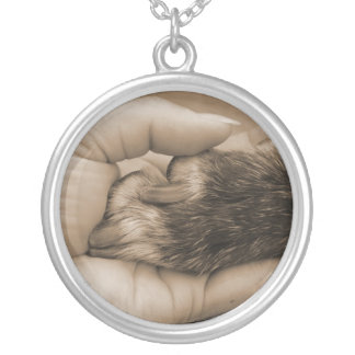 Hand & Paw Silver Plated Necklace