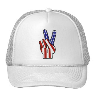 Hand Peace Sign - Red White & Blue Mesh Hat
