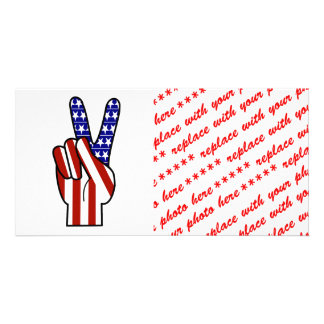 Hand Peace Sign - Red White & Blue Personalized Photo Card