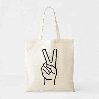 Hand peace tote bag