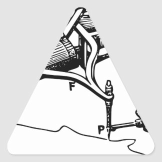 Hand Repairing Old Device Triangle Sticker