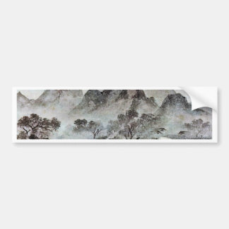 """Hand Roll, """"Eight Views Of The Area Of Hsiao-Hsian Bumper Sticker"""
