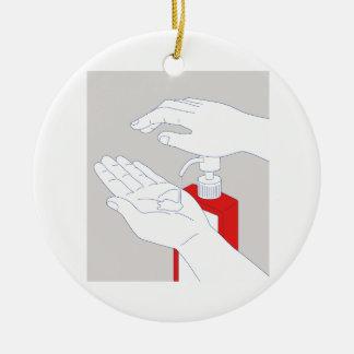 Hand Sanitizer Monoline Ceramic Ornament