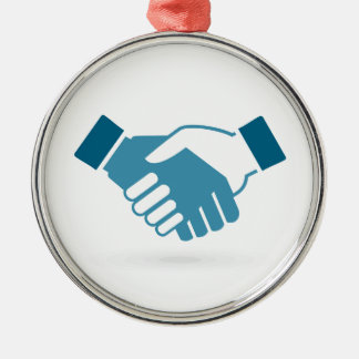 Hand shake Silver-Colored round decoration