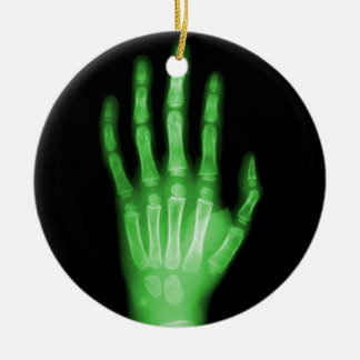 HAND SKELETON green XRAY DARK SCARY HUMAN BREAK BO Round Ceramic Decoration