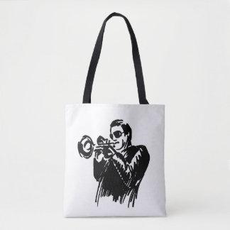 Hand sketch jazz trumpeter tote bag