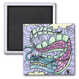 Hand Sketched Flying Dragon Square Magnet
