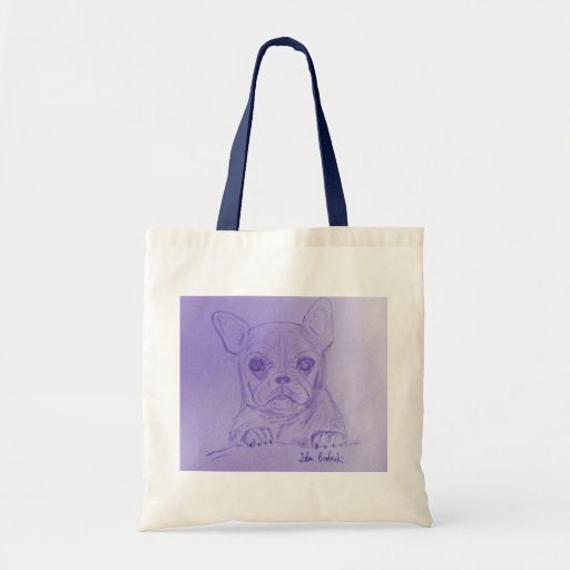 Hand Sketched French Bulldog on Blue Tote Bag