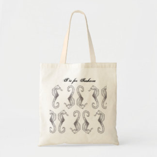 Hand Sketched S is for Seahorse Tote Bag