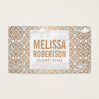 Hand-Stamped Copper and White Vintage Pattern Business Card