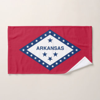 Hand Towel with Flag of Arkansas State, USA