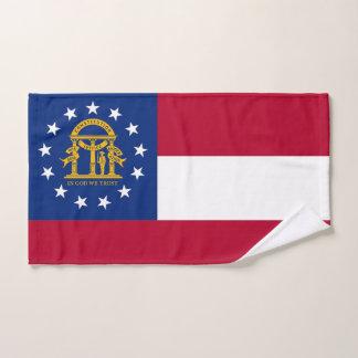 Hand Towel with Flag of Georgia State, USA