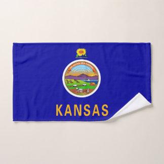 Hand Towel with Flag of Kansas State, USA