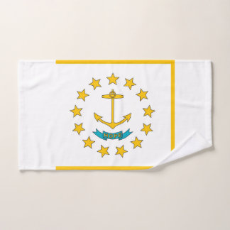 Hand Towel with Flag of Rhode Island State, USA