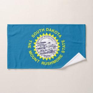 Hand Towel with Flag of South Dakota State, USA