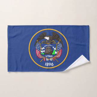 Hand Towel with Flag of Utah State, USA