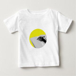 Hand Writing Journal Circle Woodcut Baby T-Shirt
