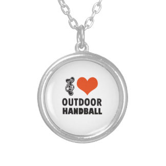 Handball design silver plated necklace